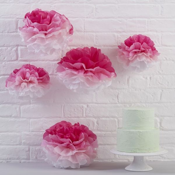 Ginger Ray - Papier PomPoms pink Ombre