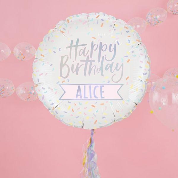 """Ginger Ray - Ballon """"Happy Birthday"""" zum personalisieren pastell"""
