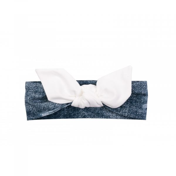 Ul & Ka - Haarband Jeans White Bow