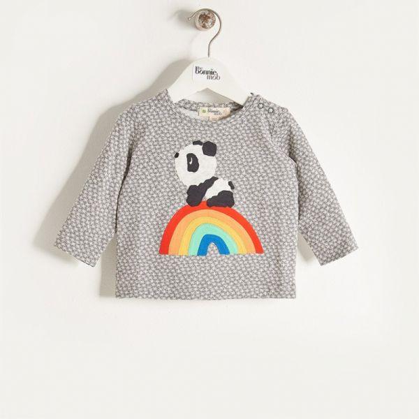 Bonniemob - Shirt Rainbow Panda grau