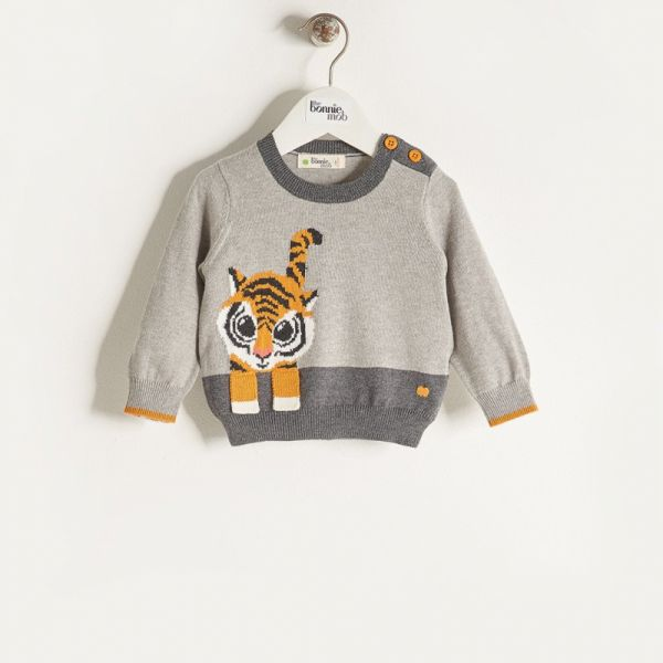 Bonniemob - Strickpullover Raffa Tiger grau