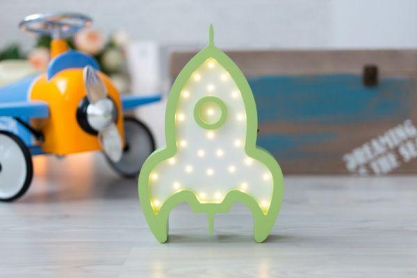 HappyMoon - LED Nachtlampe Rakete weiss grün
