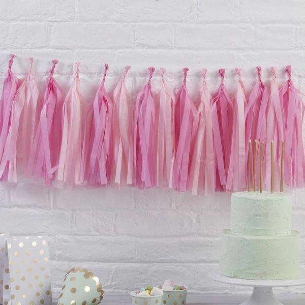 Ginger Ray - Tassel Girlande Kit Pink & Rosa