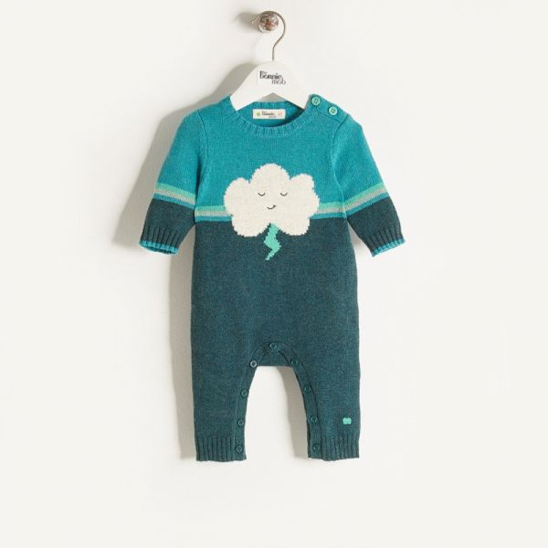 Bonniemob - Strick- Strampler Cloud & Flash teal