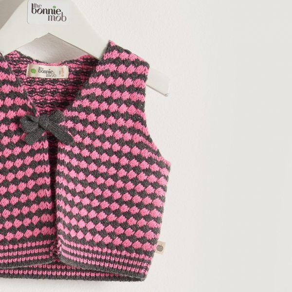 Bonniemob - Strick- Gilet Chunky pink/grau
