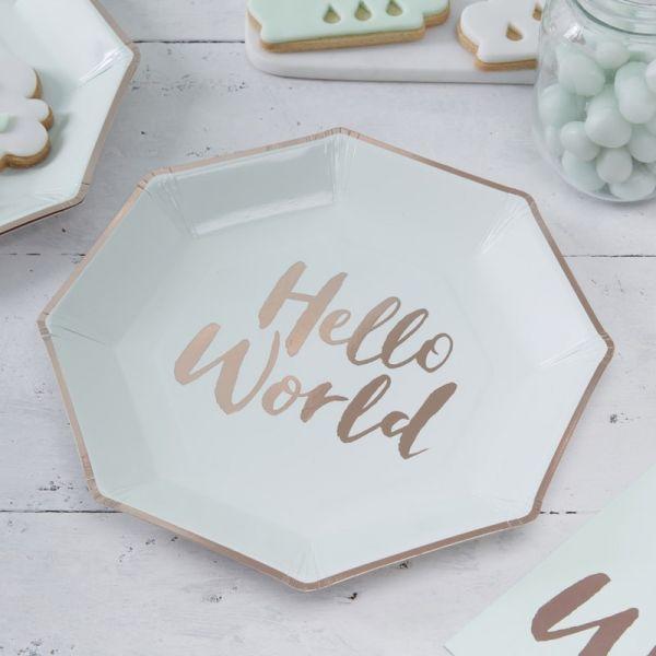 """Ginger Ray - Partyteller """"Hello World"""" Mint & Rose Gold"""