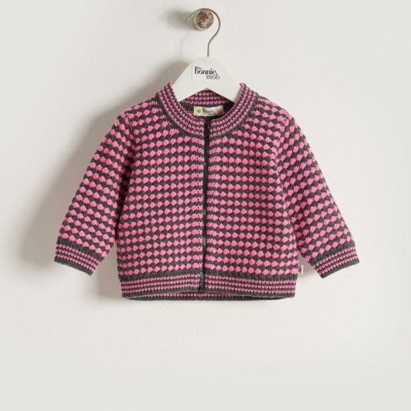 Bonniemob - Strick- Jacke Bomber pink/grau