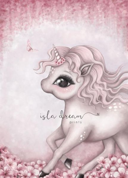 Isla Dream Prints - Poster Cinnamon running Baby Einhorn