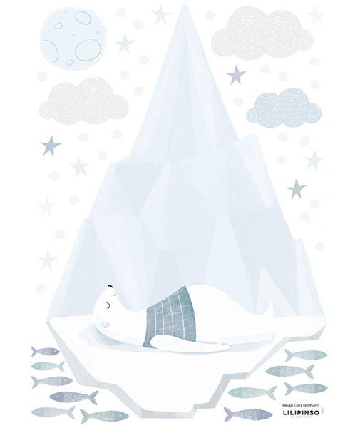 Lilipinso - Wandsticker Sleeping Polarbear on Iceberg