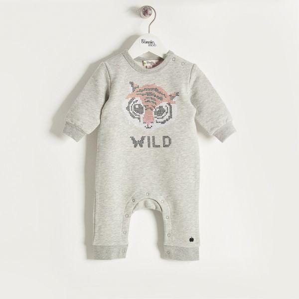 Bonniemob - Strampler Tiger Baby grau