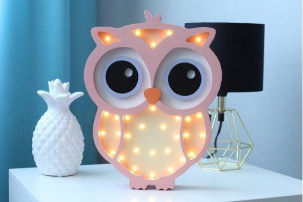HappyMoon - LED Nachtlampe Eule rosa