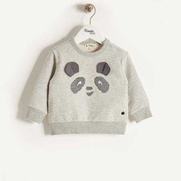 Bonniemob - Pullover Panda grau