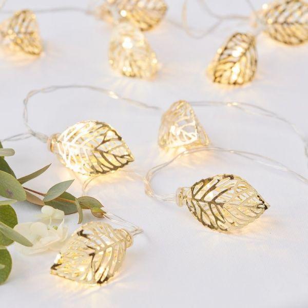 Ginger Ray - Lichtgirlande goldene Blätter