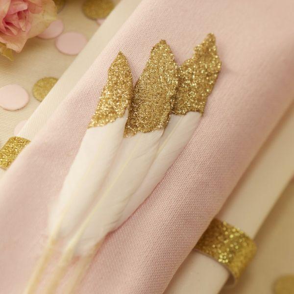 Ginger Ray - Tischdeko Pastel Perfection Federn Gold Dipped