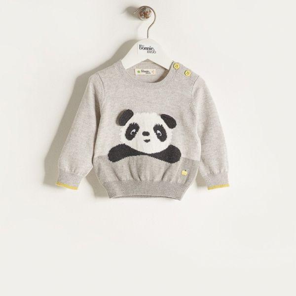 Bonniemob - Strickpullover Pax Panda grau