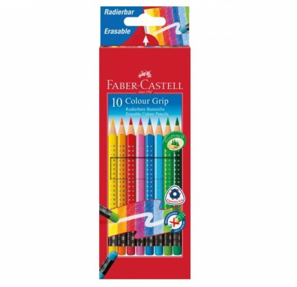 Faber-Castell - Farbstift Colour Grip radierbar 10er Set