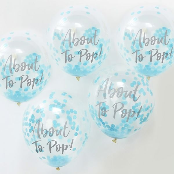 "Ginger Ray - Konfetti Ballone ""About to pop"" blau"