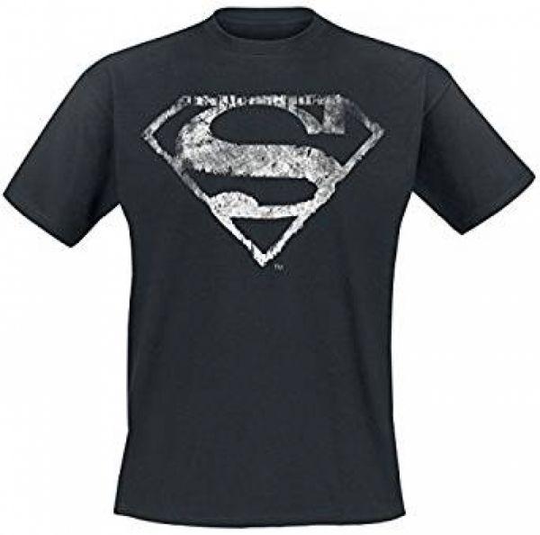 Superman Logo Mono Distressed T-Shirt schwarz M