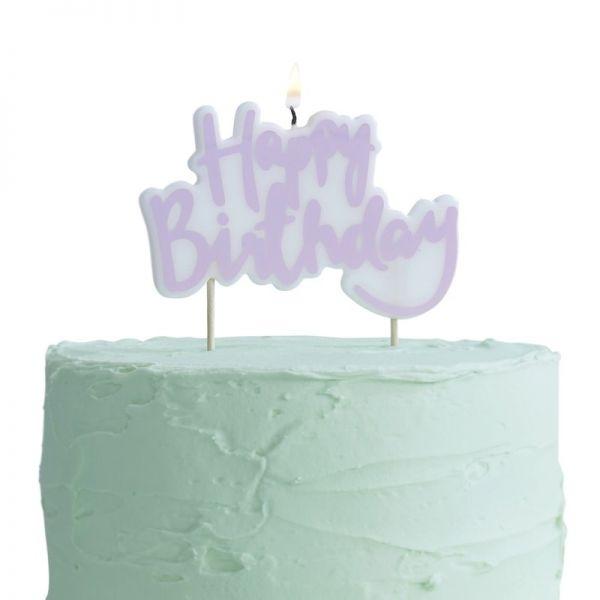 """Ginger Ray - Kuchen- Kerze Lila """"Happy Birthday"""""""