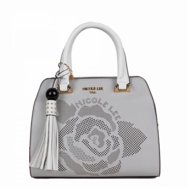 "Nicole Lee - Handtasche ""Rose Laser-Cut small Dome Satchel"" grau"