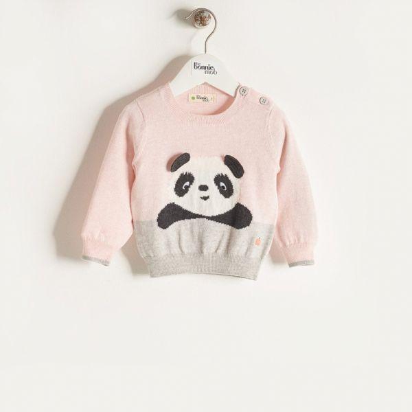 Bonniemob - Strickpullover Pax Panda rosa