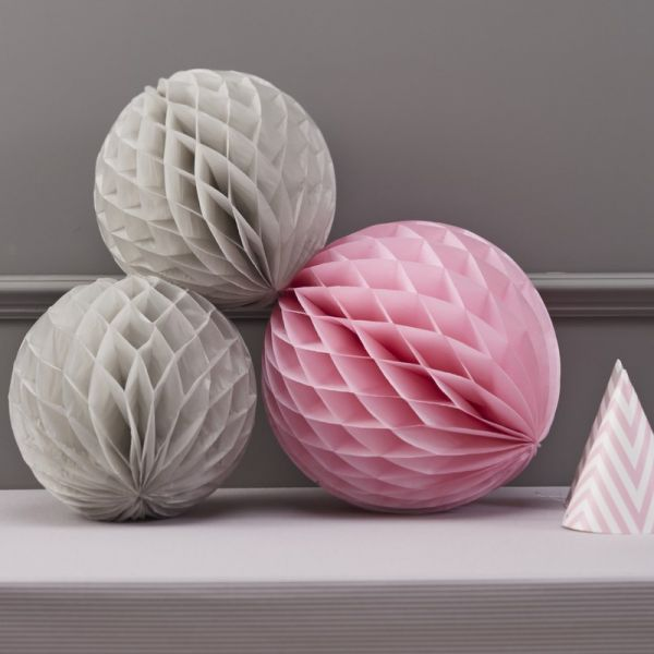 Ginger Ray - Grau - Pink Honeycomb Balls
