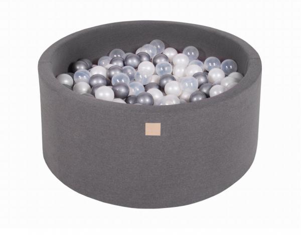 MeowBaby - Bällebad Dunkelgrau 90 x 40cm inkl 300 Bälle in Silber, transparent, Perle