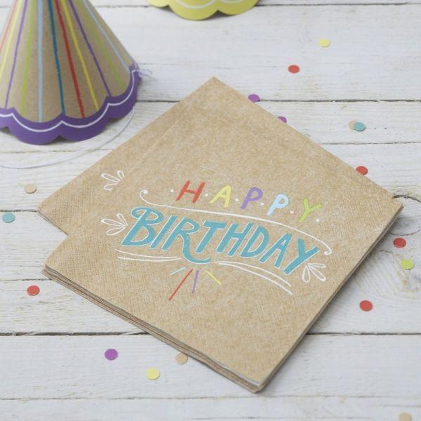 "Ginger Ray - Servietten ""Happy Birthday"" bunt kraft"