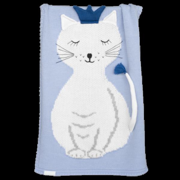 Apero - Knit Manufactory - Decke Katze Hellblau