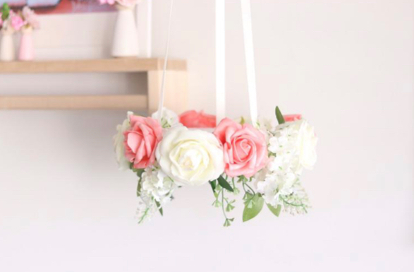 Little Miss Blossom - Halo Floral Mobile salmon