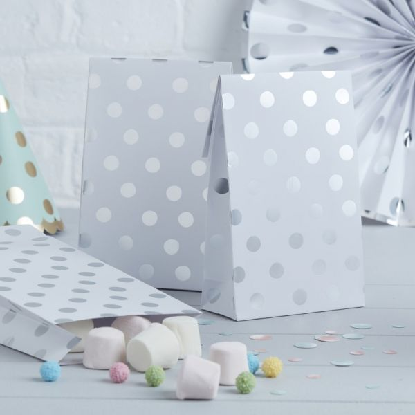 Ginger Ray - Papiertüten Polka Dots Silber