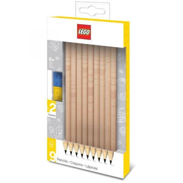LEGO® - Buntstifte 9er Set mit 2 Bausteintoppern