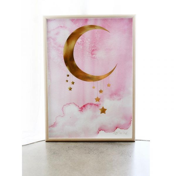 Little Rae Prints - Poster Midnight pink Gold 50x70cm