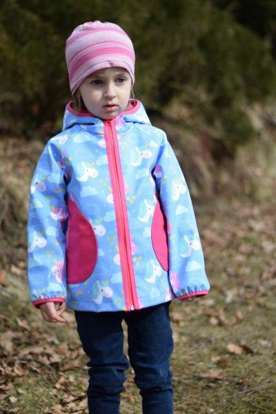 Green Baby 063 - Softshell Jacke Frühling bis Herbst ungefüttert Unicorn blau