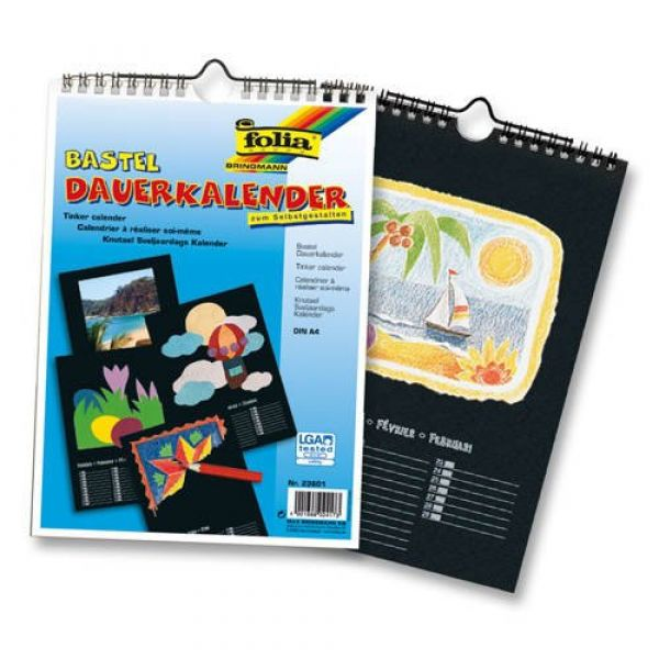 Idena - Bastel Dauerkalender A4 schwarz