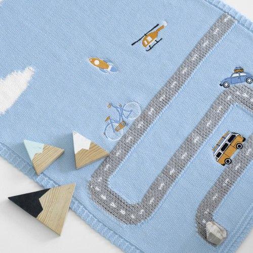 Apero - Knit Manufactory - Babydecke Little Journey blau