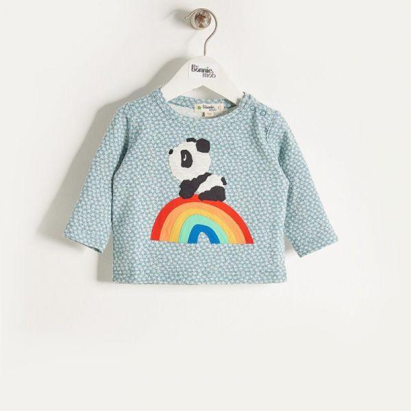 Bonniemob - Shirt Rainbow Panda blau