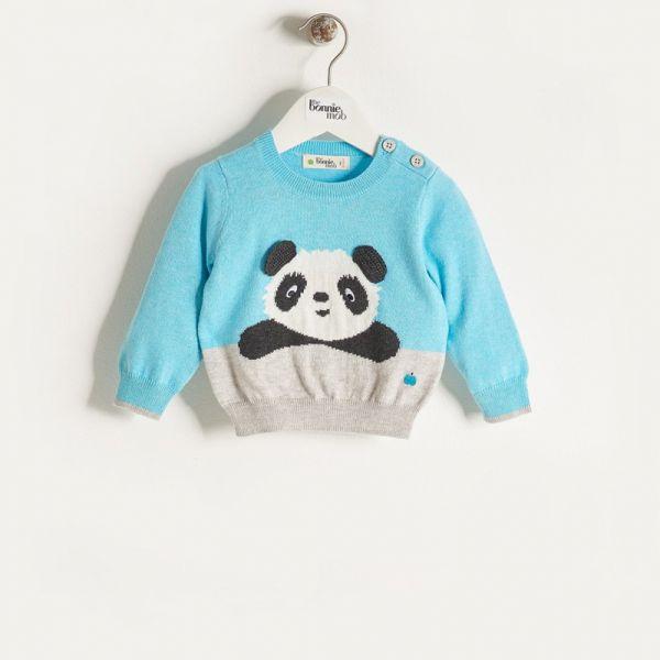 Bonniemob - Strickpullover Pax Panda blau