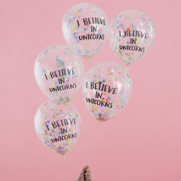 "Ginger Ray - Konfetti Ballone ""I believe in Unicorns"""