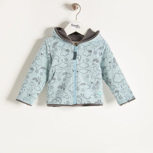 Bonniemob - Hoodie gefüttert, Sunshine & Rain Print blau