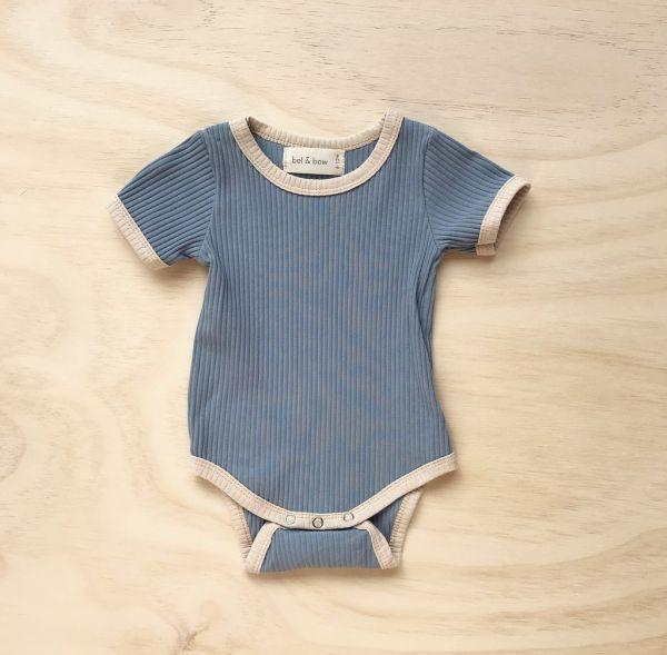 bel&bow - Ribbed Retro Ringer Body Dusty Blue