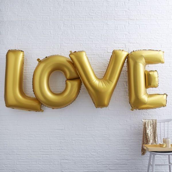 """Ginger Ray - Ballon Schriftzug Girlande """"Love"""" gold XL"""