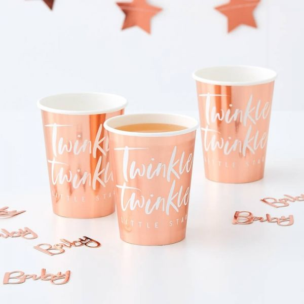 """Ginger Ray - Partybecher """"Twinkle Twinkle little Star"""" Rose Gold"""