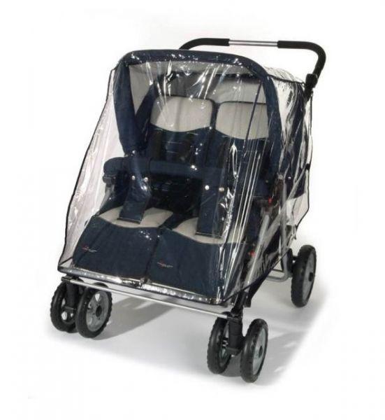 Reer - Regenschutz für Zwillingswagen, transparent