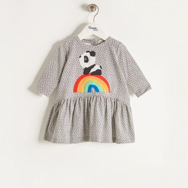 Bonniemob - Kleid Rainbow Panda grau
