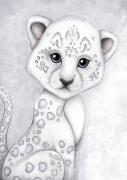 Isla Dream Prints - Poster Schneeleopard grau
