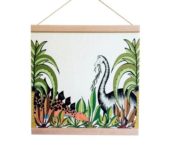 Dino Raw - Poster In The Jungle Stegosaurus & Brontosaurus
