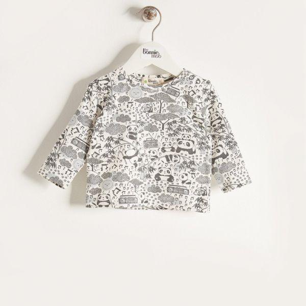 Bonniemob - Shirt Panda Print grau