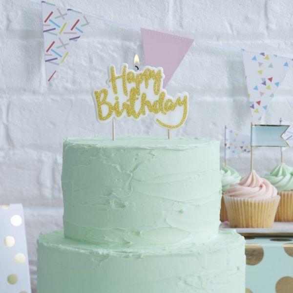 """Ginger Ray - Kuchen- Kerze Glitzer """"Happy Birthday"""" Gold"""