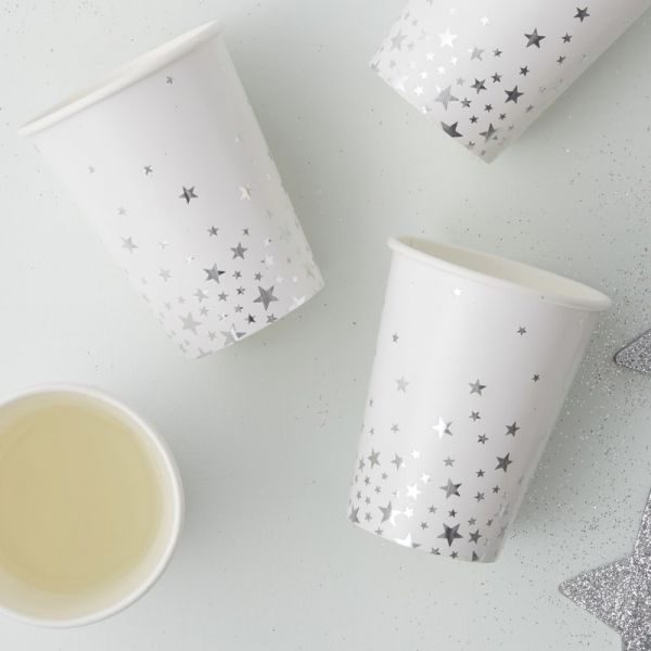 Ginger Ray - Partybecher Metallic silver Star